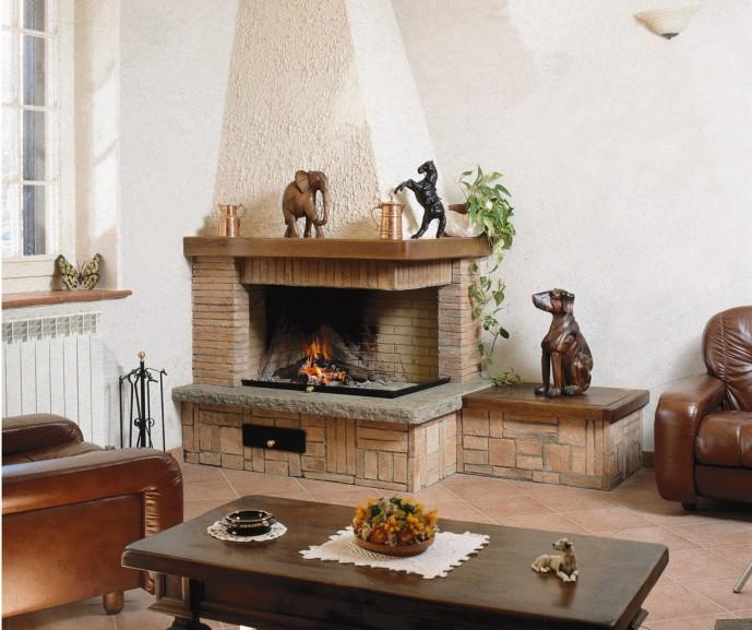 Caminetto rustico caminetto rustico 585 toscana marmi for Caminetti rustici ad angolo