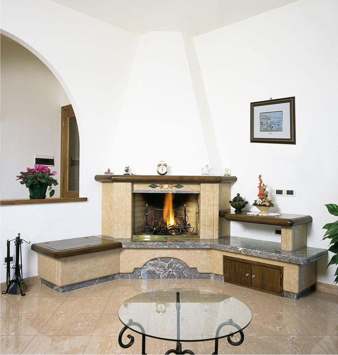 Caminetto in travertino caminetto moderno 587 toscana - Caminetti moderni a parete ...