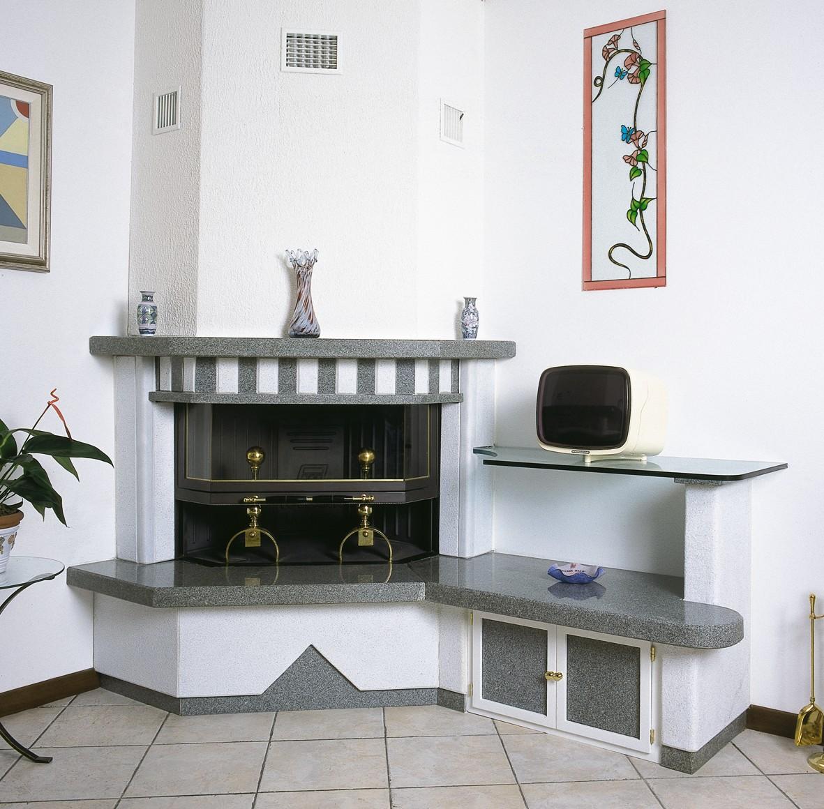 Caminetto centrale caminetto moderno 589 toscana marmi - Caminetti moderni a parete ...