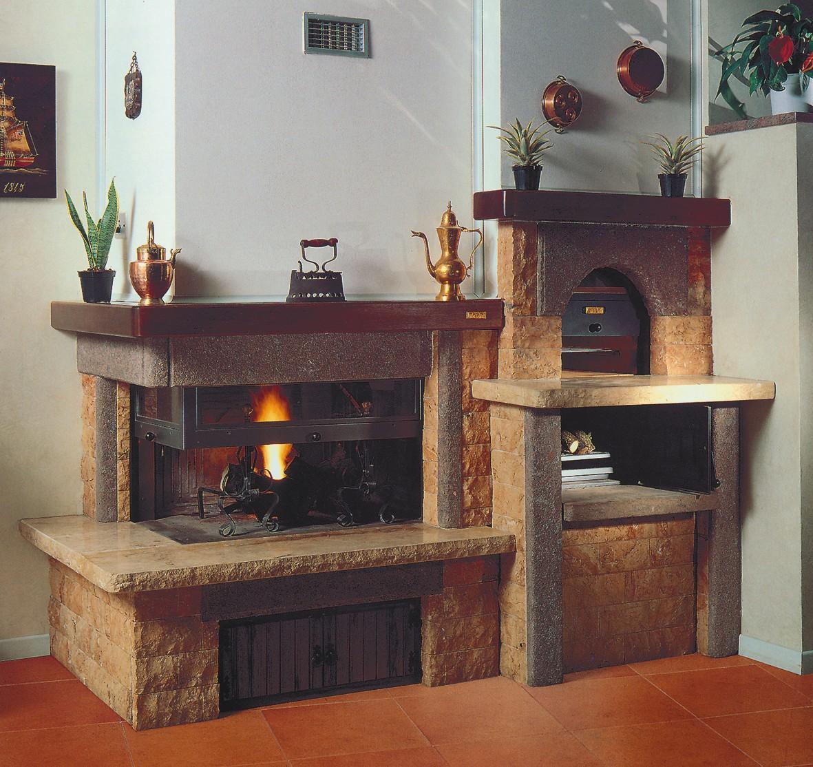Forno A Legna Con Camino foto camini | caminetto rustico 580 | toscana marmi